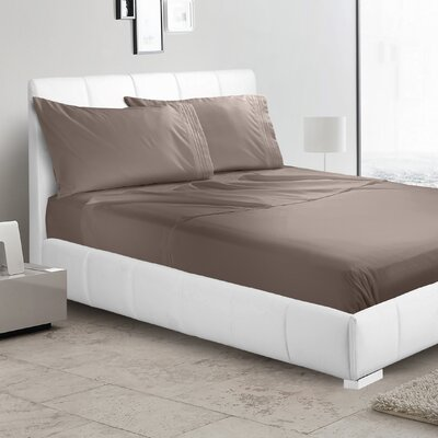 Verna 1800 Thread Count Sheet Size: Queen, Color: Brown