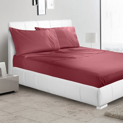 Alberty 3 Piece Sheet Set Color: Burgundy, Size: King