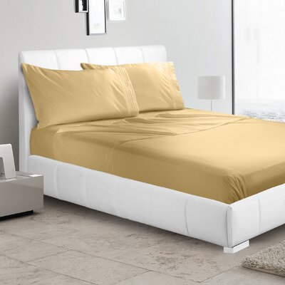 Alberty 3 Piece Sheet Set Color: Camel Gold, Size: Twin