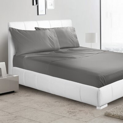 Verna 1800 Thread Count Sheet Size: Full, Color: Dark Gray