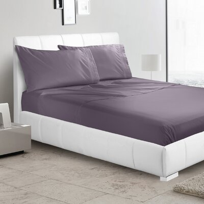 Alberty 3 Piece Sheet Set Color: Purple Eggplant, Size: King