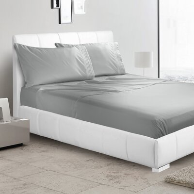 Verna 1800 Thread Count Sheet Size: Queen, Color: Silver Gray