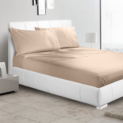 Verna 1800 Thread Count Sheet Size: Queen, Color: Taupe Sand