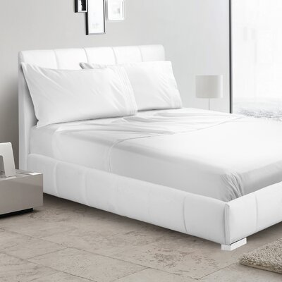 Verna 1800 Thread Count Sheet Size: King, Color: White