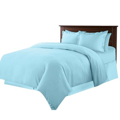 Bibiana 7 Piece Duvet Set Color: Light Blue, Size: Queen