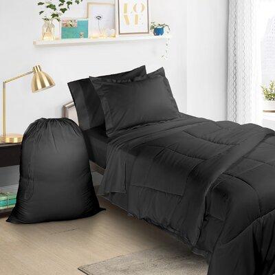 6 Piece Bed-In-a-Bag Set Color: Black