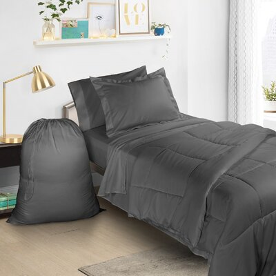 6 Piece Bed-In-a-Bag Set Color: Charcoal Gray