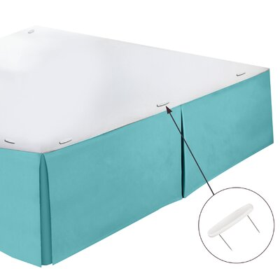 Perryville Premier Tailored 1800 Thread Count Bed Skirt Size: Twin, Color: Aqua