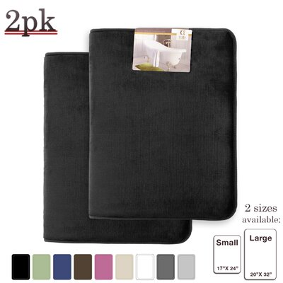 Steph Memory Foam Shower Bath Rug Size: Large, Color: Black