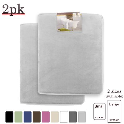 Steph Memory Foam Shower Bath Rug Size: Small/Large, Color: Silver
