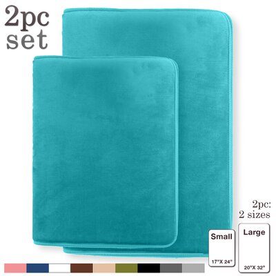 Steph Memory Foam Shower Bath Rug Size: Small, Color: Teal/Blue