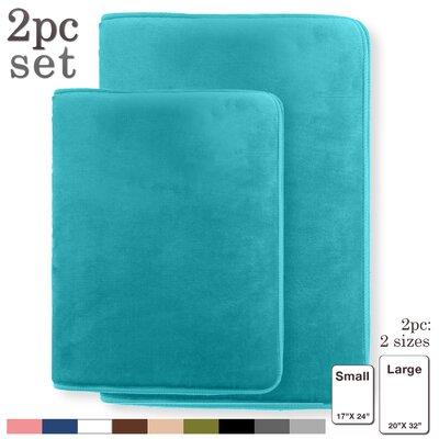 Steph Memory Foam Shower Bath Rug Size: Large, Color: Teal/Blue