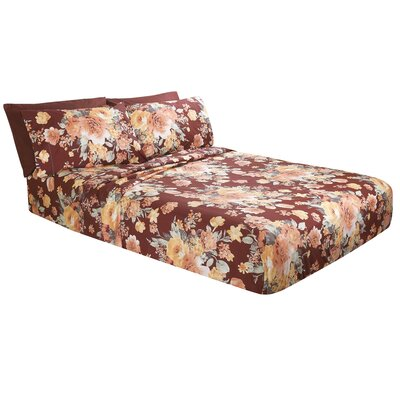 Costa Floral Microfiber Sheet Set Size: Full/Double