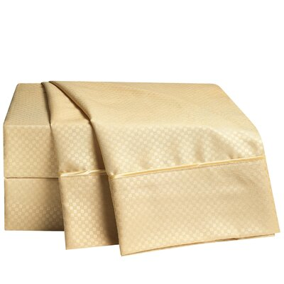 Sterrett Elegant Embossed Design Sheet Set Size: Queen, Color: Camel
