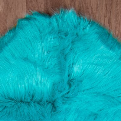 Eiland Super Soft Sheepskin Teal Blue Area Rug