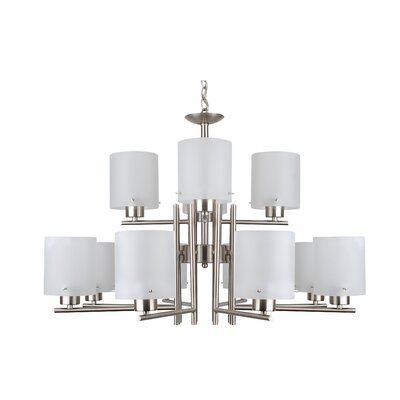 Dexter 12-Light Shaded Chandelier Finish: Satin Nickel