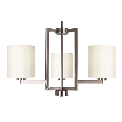Falcon 3-Light Shaded Chandelier Finish: Satin Steel