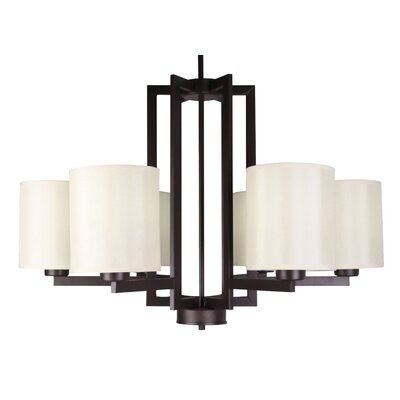 Falcon 6-Light Shaded Chandelier Finish: Ebony Bronze