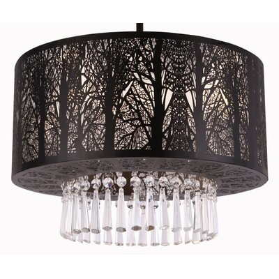 Whisper 3-Light Crystal Chandelier Finish: Black, Size: 39 H x 16 W x 12 D