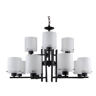 Dexter 12-Light Shaded Chandelier Finish: Black