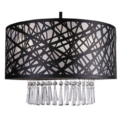 Clarens 3-Light Crystal Chandelier Finish: Black, Size: 39 H x 16 W x 12 D