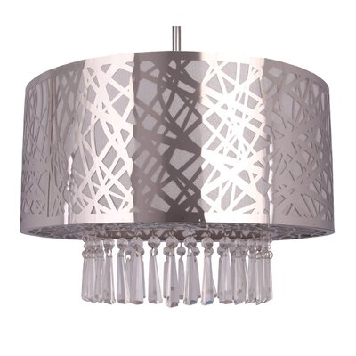 Clarens 3-Light Crystal Chandelier Finish: Chrome, Size: 39 H x 16 W x 12 D