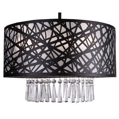 Clarens 3-Light Crystal Chandelier Finish: Black, Size: 39 H x 20 W x 12 D
