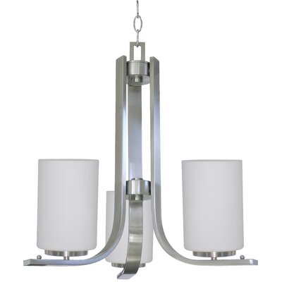 Carmen 3-Light Shaded Chandelier Finish: Satin Steel