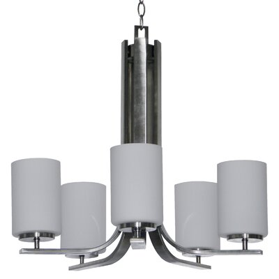 Carmen 5-Light Shaded Chandelier Finish: Satin Steel