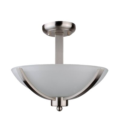 Mickayla 2-Light Semi Flush Mount Finish: Satin Steel