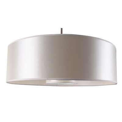 Samantha 1-Light Drum Pendant Finish: Satin Steel, Shade Color: Pristine White, Size: 35 H x 22 W x 8 D