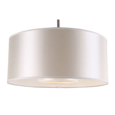 Kilpatrick 1-Light Drum Pendant Finish: Satin Steel, Shade Color: Pristine White, Size: 35 H x 16 W x 8 D