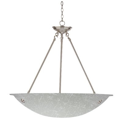 Auron 3-Light Inverted Pendant Finish: Satin Steel, Size: 60 H x 20 W x 20 D