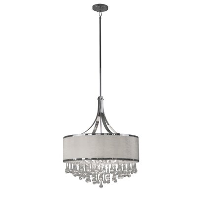 Mindy 6-Light Drum Pendant Shade Color: White