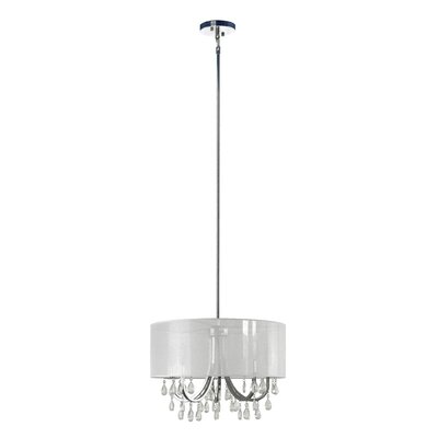 Devon 4-Light Drum Pendant Shade Color: Sheer White