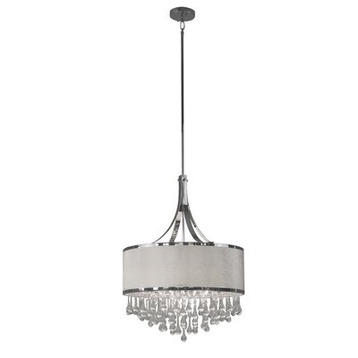 Mindy 4-Light Drum Pendant Shade Color: White