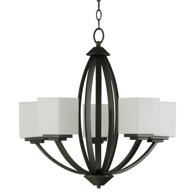 Anna 5-Light Shaded Chandelier Finish: Old Silver