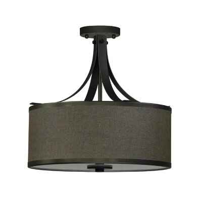 Pauline 3-Light Semi Flush Mount Shade Color: Ebony Bronze