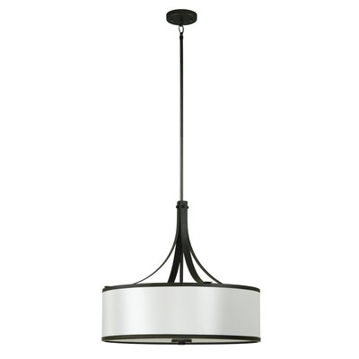 Pauline 4-Light Drum Pendant Shade Color: Old Silver