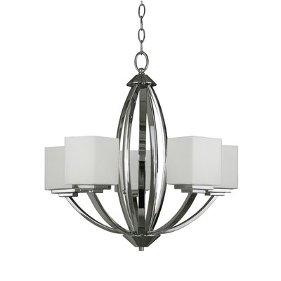 Anna 5-Light Shaded Chandelier Finish: Chrome