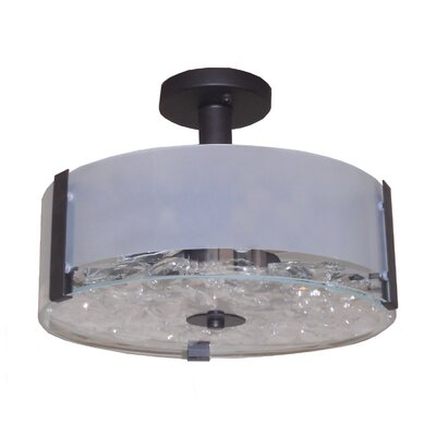 Sabrina 3-Light Semi Flush Mount Finish: Ebony Bronze