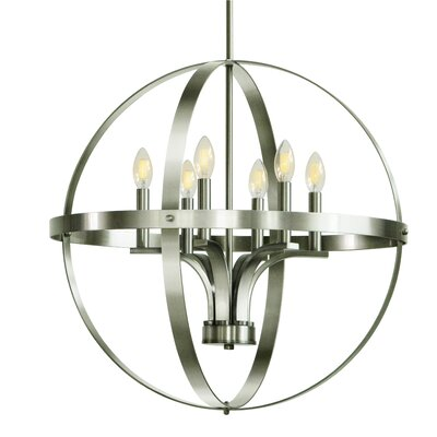 Aleria 6-Light Foyer Pendant Finish: Satin Steel