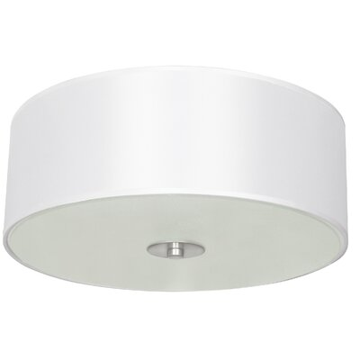 Calverton Fabric Shade 2-Light Flush Mount Shade Color: White