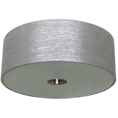Calverton Fabric Shade 2-Light Flush Mount Shade Color: Silver