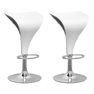 Adjustable Height Swivel Bar Stool Upholstery: White / Black