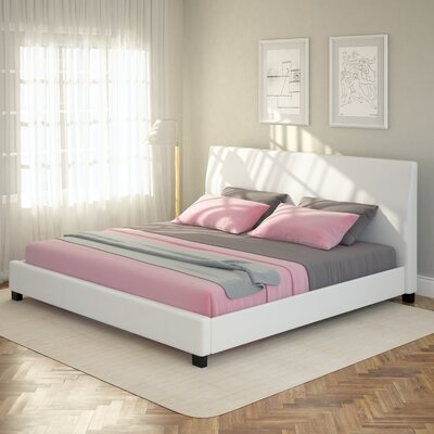 San Diego Upholstered Platform Bed Upholstery: White, Size: King