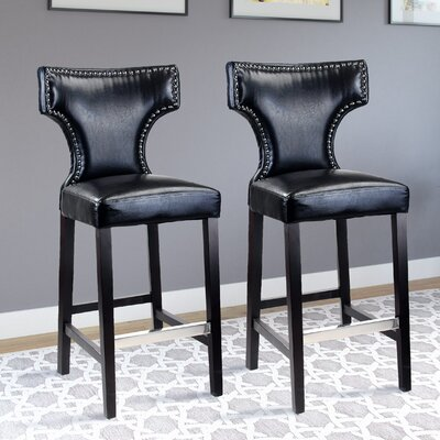 Kings Bar Stool Upholstery: Black