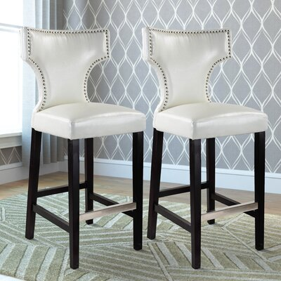 Kings Bar Stool Upholstery: Bright White
