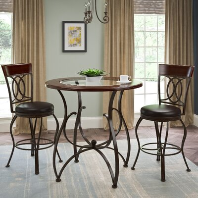 Mekhail Counter Height Rustic Pub Table Set Finish: Matte Brown
