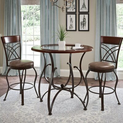 Mekhail Counter Height Rustic Pub Table Set Finish: Rustic Brown